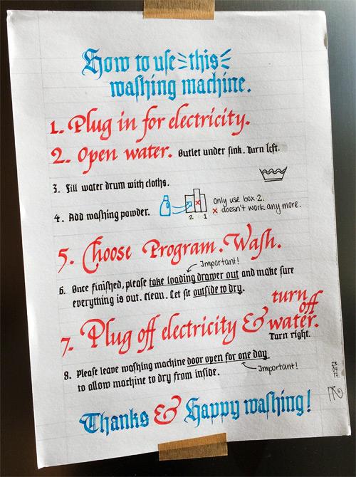 Sign washing machine