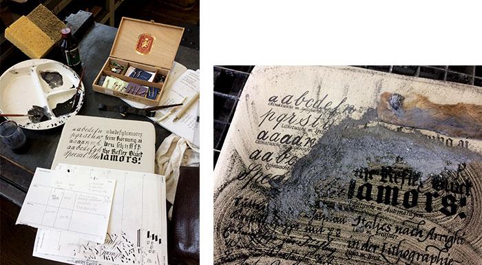 Werkstattkurs Lithographie Tusche in Process