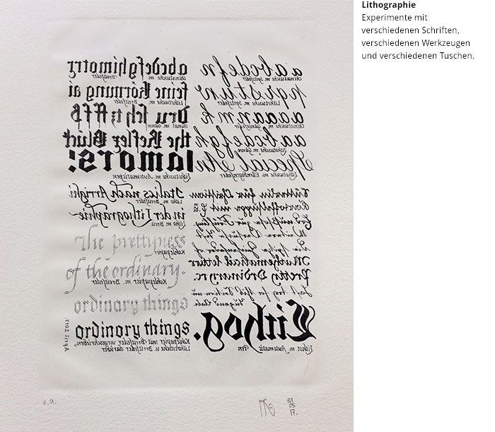 Werkstattkurs Lithographie Tusche Druck