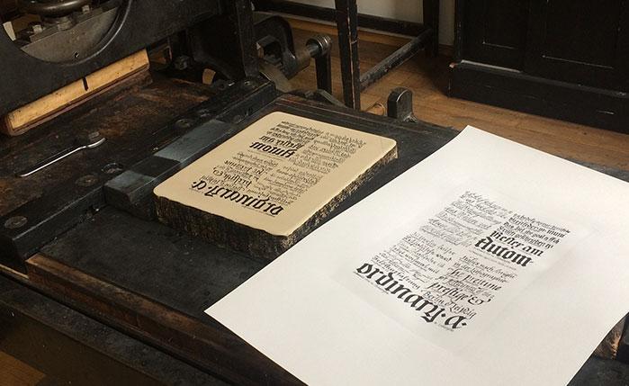 Werkstattkurs Lithographie Tusche Umdruck Presse