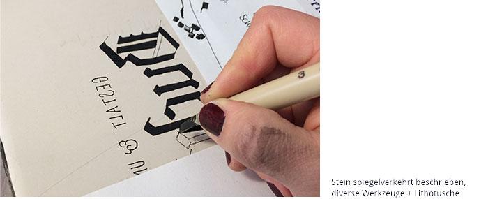 Werkstattkurs Lithographie spiegelverkehrt schreiben